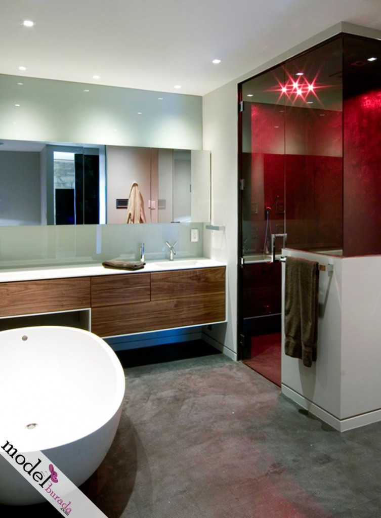 Modern banyo dekorasyonu 5 for Bachelor bathroom ideas